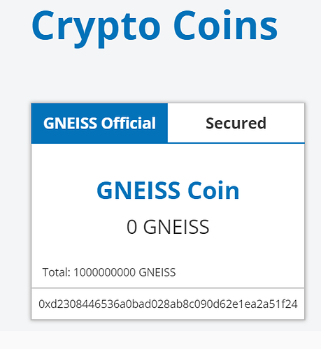 GNEISS Coin Address